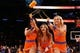 Dec 1, 2013; New York, NY, USA;  New York Knicks dancers launch t-shirts into the crowd during the fourth quarter against the New Orleans Pelicans at Madison Square Garden. New Orleans Pelicans won 103-99.  Mandatory Credit: Anthony Gruppuso-USA TODAY Sports