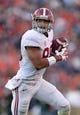 Nov 30, 2013; Auburn, AL, USA;  Alabama Crimson Tide tight end O.J. Howard (88) catches a pass from A.J. McCarron (not pictured) against the Auburn Tigers at Jordan Hare Stadium. Mandatory Credit: RVR Photos-USA TODAY Sports
