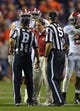 Nov 30, 2013; Auburn, AL, USA;  Alabama Crimson Tide head coach Nick Saban argues a call after time expired when running back T.J. Yeldon (not pictured) steps out of bounds with 1.0 second remanning against the Auburn Tigers at Jordan Hare Stadium. Mandatory Credit: RVR Photos-USA TODAY Sports