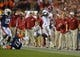 Nov 30, 2013; Auburn, AL, USA;  Alabama Crimson Tide running back T.J. Yeldon (4) steps out of bounds with 1.0 second remaining in the game against the Auburn Tigers 