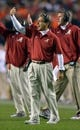 Nov 30, 2013; Auburn, AL, USA;  Alabama Crimson Tide head coach Nick Saban motions from the sideline against the Auburn Tigers at Jordan Hare Stadium. Mandatory Credit: RVR Photos-USA TODAY Sports
