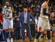 Dec 2, 2013; Chicago, IL, USA; Chicago Bulls head coach Tom Thibodeau (center) reacts during the first half of their game against the New Orleans Pelicans at the United Center.  Mandatory Credit: Matt Marton-USA TODAY Sports