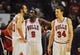Dec 2, 2013; Chicago, IL, USA; Chicago Bulls small forward Luol Deng (9) and small forward Mike Dunleavy (34) and center Joakim Noah talk during their game against the New Orleans Pelicans at the United Center. The Pelicans beat the Bulls 131-128.  Mandatory Credit: Matt Marton-USA TODAY Sports