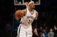 Nov 27, 2013; Brooklyn, NY, USA; Brooklyn Nets small forward Paul Pierce (34) dribbles against the Los Angeles Lakers at Barclays Center. The Lakers won 99-94. Mandatory Credit: Joe Camporeale-USA TODAY Sports