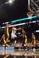 Nov 27, 2013; Brooklyn, NY, USA; Brooklyn Nets small forward Paul Pierce (34) puts up a layup against the Los Angeles Lakers at Barclays Center. The Lakers won 99-94. Mandatory Credit: Joe Camporeale-USA TODAY Sports