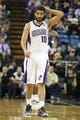 Nov 19, 2013; Sacramento, CA, USA; Sacramento Kings point guard Greivis Vasquez (10) between plays against the Phoenix Suns during the second quarter at Sleep Train Arena. Mandatory Credit: Kelley L Cox-USA TODAY Sports