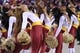 Dec 1, 2013; Landover, MD, USA; Washington Redskins cheerleaders dance on the sidelines against the New York Giants in the third quarter at FedEx Field. The Giants won 24-17. Mandatory Credit: Geoff Burke-USA TODAY Sports