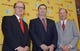 Dec 3, 2013; Los Angeles, CA, USA; Steve Sarkisian (center) poses with Southern California Trojans president C.L. Max Nikias (left) and athletic director Pat Haden at a press conference to announce his hiring as football coach at John McKay Center. Mandatory Credit: Kirby Lee-USA TODAY Sports