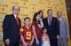 Dec 3, 2013; Los Angeles, CA, USA; Steve Sarkisian (second from right) poses with his family at a press conference to announce his hiring as Southern California Trojans football coach at John McKay Center. From left: Southern California Trojans president C.L. Max Nikias and son Brady Sarkisian and daughter Ashley Sarkisian and wife Stephanie Sarkisian and Taylor Sarkisian and athletic director Pat Haden. Mandatory Credit: Kirby Lee-USA TODAY Sports