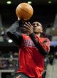 Nov 27, 2013; Auburn Hills, MI, USA; Chicago Bulls point guard Marquis Teague (25) warms up before the game against the Detroit Pistons at The Palace of Auburn Hills. Bulls beat the Pistons 99-79. Mandatory Credit: Raj Mehta-USA TODAY Sports