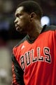 Nov 27, 2013; Auburn Hills, MI, USA; Chicago Bulls small forward Luol Deng (9) warms up before the game against the Detroit Pistons at The Palace of Auburn Hills. Bulls beat the Pistons 99-79. Mandatory Credit: Raj Mehta-USA TODAY Sports