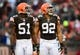 Dec 1, 2013; Cleveland, OH, USA; Cleveland Browns outside linebacker Barkevious Mingo (51) and defensive end Desmond Bryant (92) against the Jacksonville Jaguars at FirstEnergy Stadium. Mandatory Credit: Andrew Weber-USA TODAY Sports