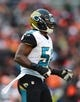 Dec 1, 2013; Cleveland, OH, USA; Jacksonville Jaguars linebacker Daryl Smith (52) against the Cleveland Browns at FirstEnergy Stadium. Mandatory Credit: Andrew Weber-USA TODAY Sports