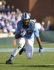 Nov 30, 2013; Chapel Hill, NC, USA; North Carolina Tar Heels tight end Eric Ebron (85) on the field in the second quarter at Kenan Memorial Stadium. Mandatory Credit: Bob Donnan-USA TODAY Sports