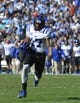 Nov 30, 2013; Chapel Hill, NC, USA; Duke Blue Devils wide receiver Issac Blakeney (17) with the ball in the third quarter. The Blue Devils defeated the Tar Heels 27-25 at Kenan Memorial Stadium. Mandatory Credit: Bob Donnan-USA TODAY Sports