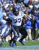 Nov 30, 2013; Chapel Hill, NC, USA; Duke Blue Devils guard Laken Tomlinson (77) on the field in the second quarter at Kenan Memorial Stadium. Mandatory Credit: Bob Donnan-USA TODAY Sports