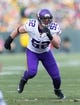 Nov 24, 2013; Green Bay, WI, USA; Minnesota Vikings linebacker Chad Greenway (52) during the game against the Green Bay Packers at Lambeau Field.  The Vikings and Packers tied 26-26.  Mandatory Credit: Jeff Hanisch-USA TODAY Sports