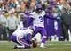 Nov 24, 2013; Green Bay, WI, USA; Minnesota Vikings kicker Blair Walsh (3) kicks a field goal during the game against the Green Bay Packers at Lambeau Field.  The Vikings and Packers tied 26-26.  Mandatory Credit: Jeff Hanisch-USA TODAY Sports