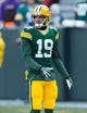 Nov 24, 2013; Green Bay, WI, USA; Green Bay Packers wide receiver Myles White (19) during warmups prior to the game against the Minnesota Vikings at Lambeau Field.  The Vikings and Packers tied 26-26.  Mandatory Credit: Jeff Hanisch-USA TODAY Sports