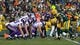 Nov 24, 2013; Green Bay, WI, USA; The Minnesota Vikings offense lines up for a play during the game against the Green Bay Packers at Lambeau Field.  The Vikings and Packers tied 26-26.  Mandatory Credit: Jeff Hanisch-USA TODAY Sports