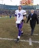 Nov 24, 2013; Green Bay, WI, USA; Minnesota Vikings quarterback Christian Ponder (7) following the game against the Green Bay Packers at Lambeau Field.  The Vikings and Packers tied 26-26.  Mandatory Credit: Jeff Hanisch-USA TODAY Sports