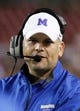 Nov 16, 2013; Tampa, FL, USA; Memphis Tigers head coach Justin Fuente against the South Florida Bulls during the second half at Raymond James Stadium. Memphis Tigers defeated the South Florida Bulls 23-10. Mandatory Credit: Kim Klement-USA TODAY Sports