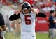 Nov 17, 2013; Tampa, FL, USA; Atlanta Falcons punter Matt Bosher (5) reacts on the sidelines against the Tampa Bay Buccaneers during the second half at Raymond James Stadium. Tampa Bay Buccaneers defeated the Atlanta Falcons 41-28. Mandatory Credit: Kim Klement-USA TODAY Sports