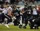 Dec 5, 2013; Jacksonville, FL, USA; Jacksonville Jaguars running back Maurice Jones-Drew (32) runs up the middle to set up a field goal at the end of in the second quarter against the Houston Texans at EverBank Field. Mandatory Credit: Phil Sears-USA TODAY Sports