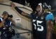 Dec 5, 2013; Jacksonville, FL, USA; Jacksonville Jaguars linebacker Geno Hayes (55), who made a key interception late in the game against the Houston Texans, leaves the field at EverBank Field. The Jacksonville Jaguars best the Houston Texans 27-20. Mandatory Credit: Phil Sears-USA TODAY Sports