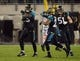 Dec 5, 2013; Jacksonville, FL, USA; Jacksonville Jaguars linebacker Geno Hayes (55) celebrates with cornerback Jamell Fleming (29) and linebacker Paul Posluszny (51) after intercepting a pass in the fourth quarter against the Houston Texans at EverBank Field. The Jaguars defeated the Texans 27-20.  Mandatory Credit: Kirby Lee-USA TODAY Sports
