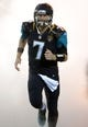Dec 5, 2013; Jacksonville, FL, USA; Jacksonville Jaguars quarterback Chad Henne (7) runs onto the field before the game against the Houston Texans at EverBank Field. The Jaguars defeated the Texans 27-20.  Mandatory Credit: Kirby Lee-USA TODAY Sports