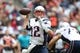 Dec 1, 2013; Houston, TX, USA; New England Patriots quarterback Tom Brady (12) throws in the pocket against the Houston Texans at Reliant Stadium. Mandatory Credit: Matthew Emmons-USA TODAY Sports