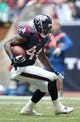 Dec 1, 2013; Houston, TX, USA; Houston Texans running back Ben Tate (44) runs with the ball for a second quarter touchdown against New England Patriots safety Devin McCourty (32) at Reliant Stadium. Mandatory Credit: Matthew Emmons-USA TODAY Sports