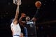 Dec 6, 2013; New York, NY, USA; Orlando Magic power forward Glen Davis (11) puts up a layup over New York Knicks power forward Kenyon Martin (3) during the first half at Madison Square Garden. The Knicks won the game 121-83. Mandatory Credit: Joe Camporeale-USA TODAY Sports