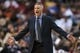 Dec 3, 2013; Philadelphia, PA, USA; Philadelphia 76ers head coach Brett Brown during the second quarter against the Philadelphia 76ers at the Wells Fargo Center. The Sixers defeated the Magic 126-125 in double overtime. Mandatory Credit: Howard Smith-USA TODAY Sports