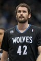 Nov 27, 2013; Minneapolis, MN, USA; Minnesota Timberwolves forward Kevin Love (42) against the Denver Nuggets at Target Center. The Nuggets defeated the Timberwolves 117-110. Mandatory Credit: Brace Hemmelgarn-USA TODAY Sports