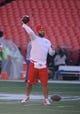 Dec 1, 2013; Kansas City, MO, USA; Kansas City Chiefs quarterback Chase Daniel (10) warms up before the game against the Denver Broncos at Arrowhead Stadium. Denver won the game 35-28. Mandatory Credit: John Rieger-USA TODAY Sports