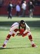 Dec 1, 2013; Kansas City, MO, USA; Kansas City Chiefs wide receiver Dexter McCluster (22) warms up before the game against the Denver Broncos at Arrowhead Stadium. Denver won the game 35-28. Mandatory Credit: John Rieger-USA TODAY Sports