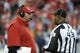 Dec 1, 2013; Kansas City, MO, USA; Kansas City Chiefs head coach Andy Reid (left) talks to field judge Terry Brown (43) against the Denver Broncos in the first half at Arrowhead Stadium. Denver won the game 35-28. Mandatory Credit: John Rieger-USA TODAY Sports