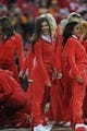 Dec 1, 2013; Kansas City, MO, USA; Kansas City Chiefs cheerleaders perform for the crowd during a timeout in the game against the Denver Broncos at Arrowhead Stadium. Denver won 35-28. Mandatory Credit: Denny Medley-USA TODAY Sports