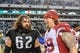 Dec 1, 2013; Philadelphia, PA, USA;  Philadelphia Eagles center Jason Kelce (62) and Arizona Cardinals tackle Mike Gibson (69) after the game at Lincoln Financial Field. The Philadelphia Eagles won the game 24-21.  Mandatory Credit: John Geliebter-USA TODAY Sports