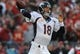 Dec 1, 2013; Kansas City, MO, USA; Denver Broncos quarterback Peyton Manning (18) throws a pass during the first half of the game against the Kansas City Chiefs at Arrowhead Stadium. Denver won 35-28. Mandatory Credit: Denny Medley-USA TODAY Sports