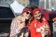 Dec 1, 2013; Kansas City, MO, USA; Kansas City Chiefs fans Sam Kapp (left) and Natalie Pottier of Kansas City, MO tailgate before the game against the Denver Broncos at Arrowhead Stadium. Mandatory Credit: Denny Medley-USA TODAY Sports