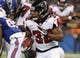Dec 1, 2013; Toronto, ON, Canada; Atlanta Falcons running back Jacquizz Rodgers (32) runs the ball against the Buffalo Bills at the Rogers Center. Mandatory Credit: Timothy T. Ludwig-USA TODAY Sports