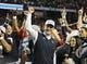 Dec 7, 2013; Atlanta, GA, USA; Auburn Tigers head coach Gus Malzahn celebrates after defeating the Missouri Tigers in the 2013 SEC Championship game at Georgia Dome. Auburn defeated Missouri 59-42. Mandatory Credit: Dale Zanine-USA TODAY Sports