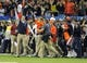 Dec 7, 2013; Atlanta, GA, USA; Auburn Tigers head coach Gus Malzahn celebrates at the end of the game against the Missouri Tigers during the 2013 SEC Championship game at Georgia Dome. Auburn defeated Missouri 59-42. Mandatory Credit: Dale Zanine-USA TODAY Sports