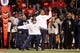 Dec 7, 2013; Fresno, CA, USA; Utah State Aggies head coach Matt Wells reacts after the Aggies stopped the Fresno State Bulldogs on fourth down in the fourth quarter at Bulldog Stadium. The Bulldogs defeated the Aggies 24-17. Mandatory Credit: Cary Edmondson-USA TODAY Sports