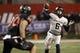 Dec 7, 2013; Fresno, CA, USA; Utah State Aggies quarterback Darell Garretson (6) prepares to throw a pass against the Fresno State Bulldogs in the third quarter at Bulldog Stadium. The Bulldogs defeated the Aggies 24-17. Mandatory Credit: Cary Edmondson-USA TODAY Sports
