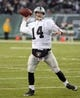 Dec 8, 2013; East Rutherford, NJ, USA; Oakland Raiders quarterback Matt McGloin (14) throws a pass against the New York Jets at MetLife Stadium. The Jets defeated the Raiders 37-27 Mandatory Credit: Kirby Lee-USA TODAY Sports