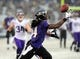 Dec 8, 2013; Baltimore, MD, USA; Baltimore Ravens wide receiver Marlon Brown (14) catches a pass during the game against the Minnesota Vikings at M&T Bank Stadium. Mandatory Credit: Evan Habeeb-USA TODAY Sports